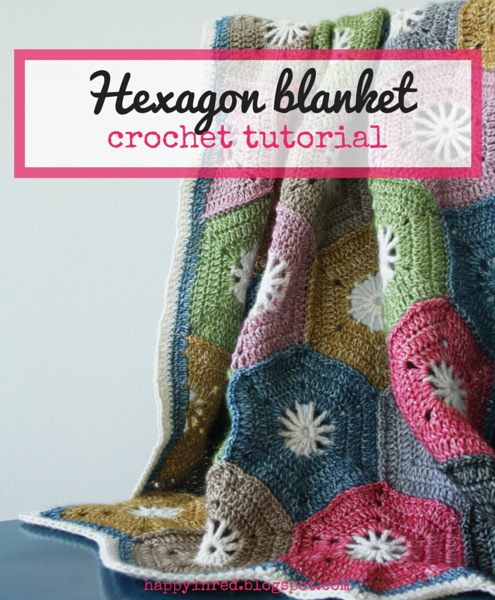 Crohet hexagon blanket: a step by step tutorial | Happy in Red