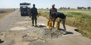 Soldiers fighting Boko Haram renovate road leading to sects hideout in Borno