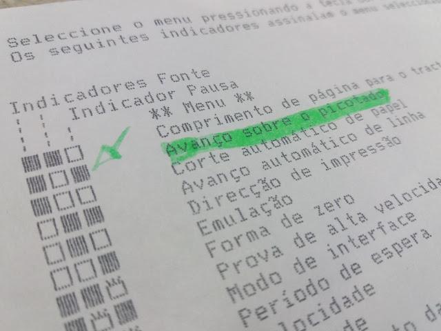 avanço sobre o picotado menu impressora epson lx 300 + configuração