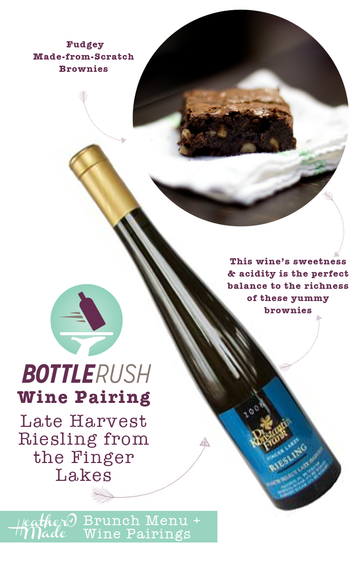 pair fudgey brownies with a late harvest riesling from the fingerlakes. wine food pairings. heatheromade. blottle rush.