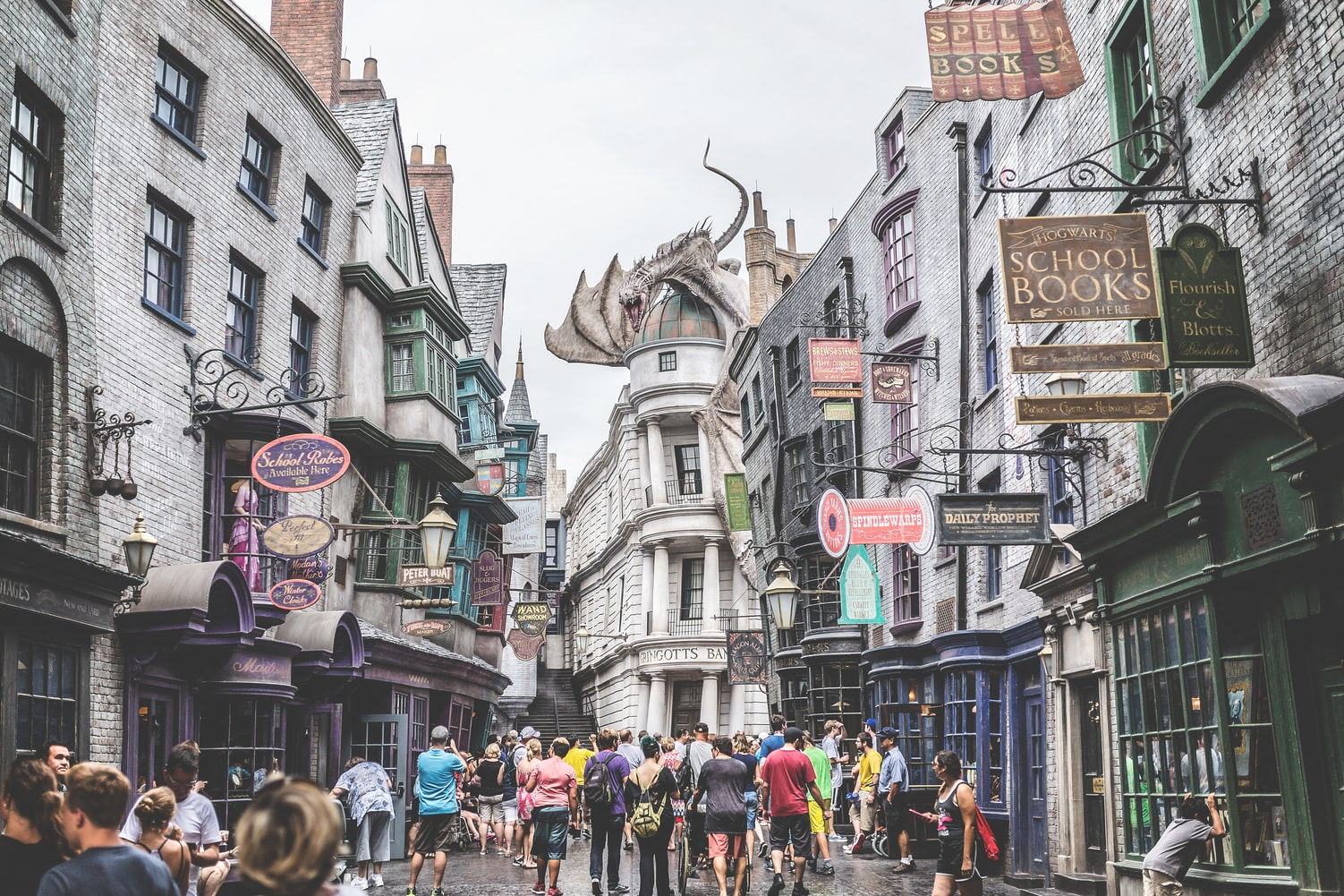 A family visiting The Wizarding World of Harry Potter at Universal Studios Orlando