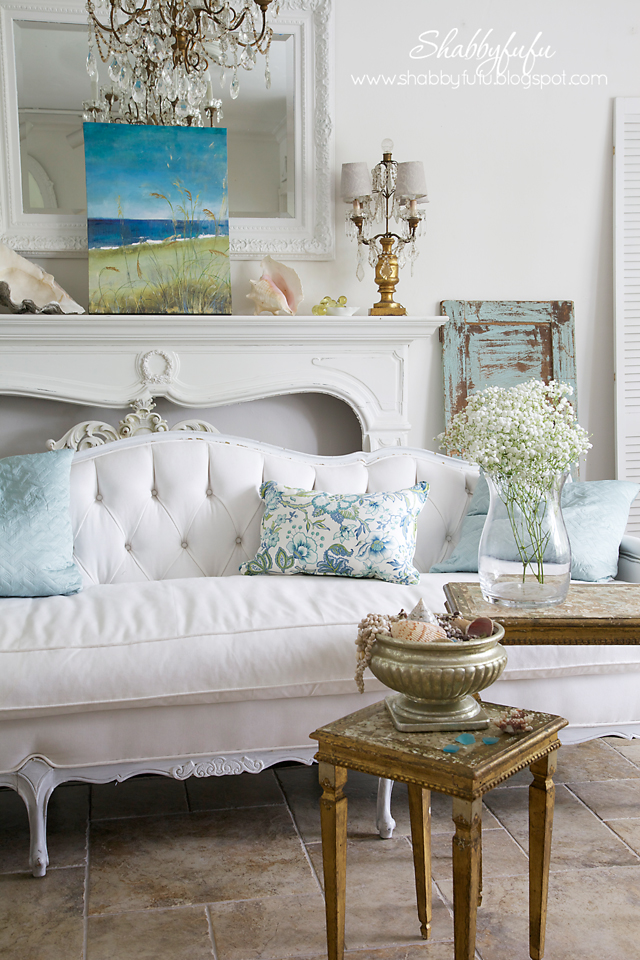 five minute styling tips - white room with coastal blue accents and rustic distressed furniture