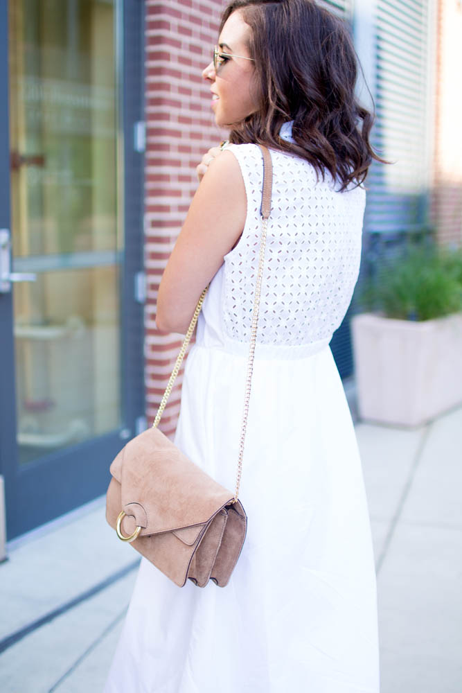 How to style a white midi dress | A.Viza Style | white midi ann taylor dress - joie wedge lena heels. dc blogger