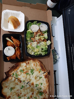 Phantasma Kitchen pizza, wings + cesar salad