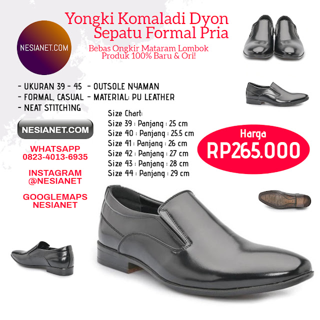 Jual Yongki Komaladi Dyon Sepatu Formal Pria - Black Mataram Lombok