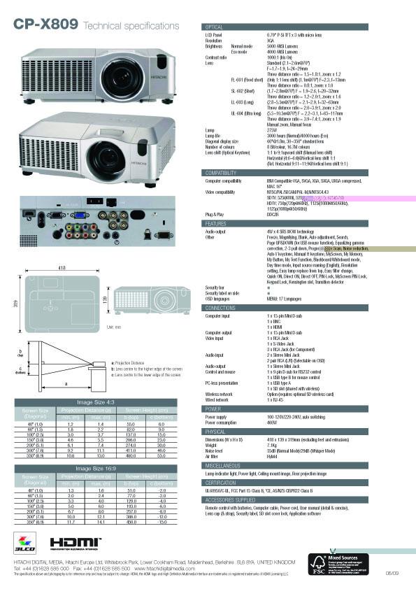 Hitachi Projector Indonesia: Brochure CP-X809