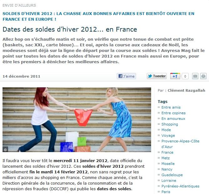 La r dac d 39 anyresa mag a aim cette semaine dates des soldes d hiver 2012 - Date des soldes en france ...