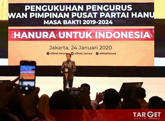 Hadiri Pengukuhan DPP PARTAI HANURA, Presiden Jokowi Serukan Pilkada 2020 Tanpa Politik SARA dan Hoaks