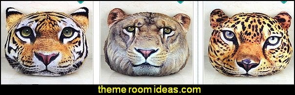 Lion Head Pattern 3D Throw Pillow   -    Tiger Shape Throw Pillow   -    Leopard Style Throw Pillow