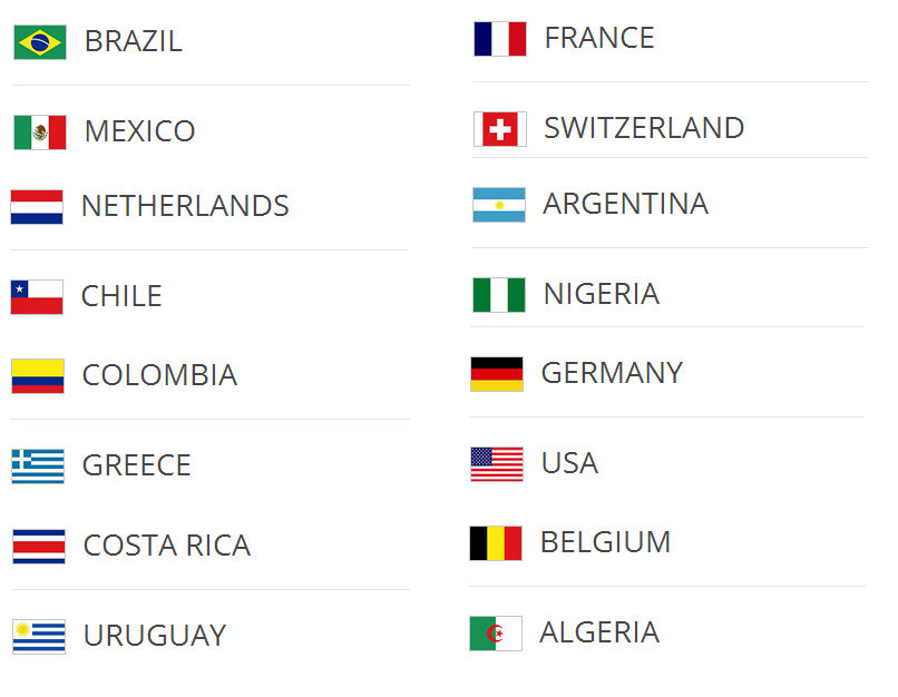 World Cup 2014 Round of 16 qualified teams