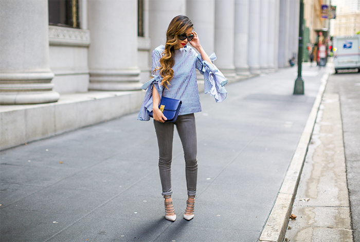 chicwish stripe bow knot bell sleeve top, prada sunglasses, baublebar tassel earrings, blanknyc jeans, grey jeans, celine classic box bag, aquazzura lace up heels, san francisco street style, san francisco fashion blog