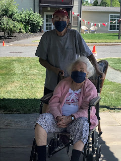 Mom and dad in masks