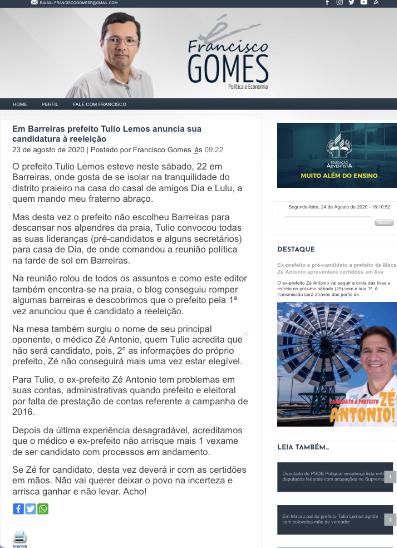 Candidatura de Tulio Lemos à reeleição é fato