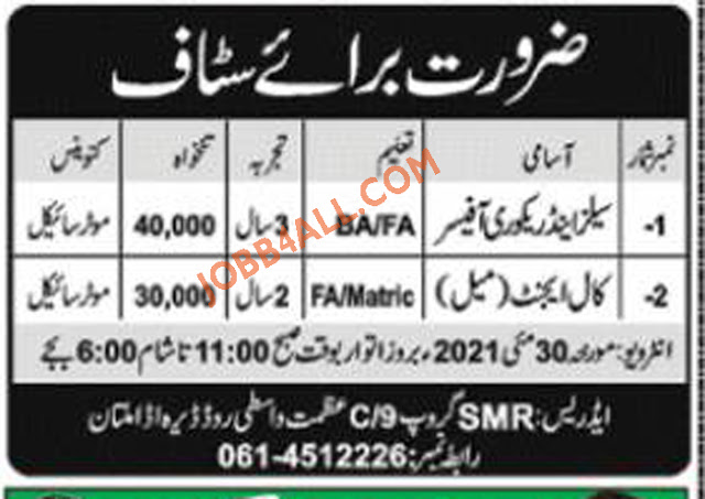 Multan Jobs 2021 for Call Agent in SMR Group