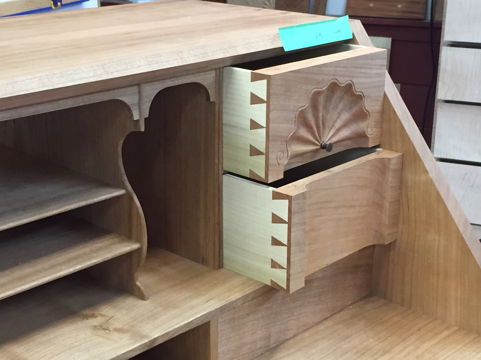 Carved Shell on dovetailed drawers