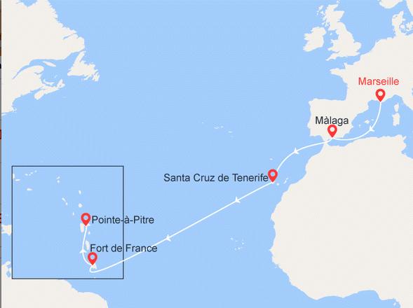 Croisère Caraibes départ Marseille vers les Antilles francaises