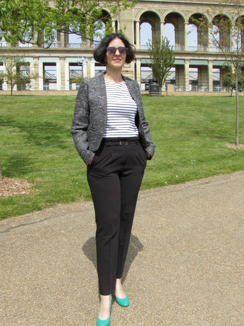 Chic work outfit with a breton top