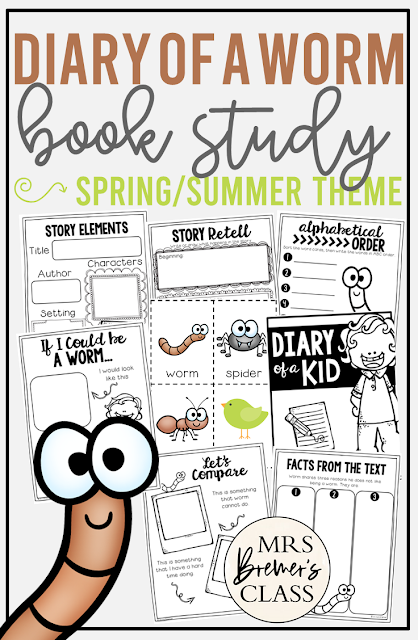 Diary of a Worm book study activities unit with Common Core aligned literacy companion activities for Kindergarten & First Grade & Second Grade