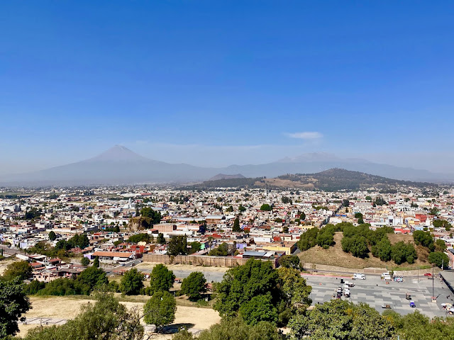 View of volcanoes from top of Great Pyramid of Cholula, Mexico