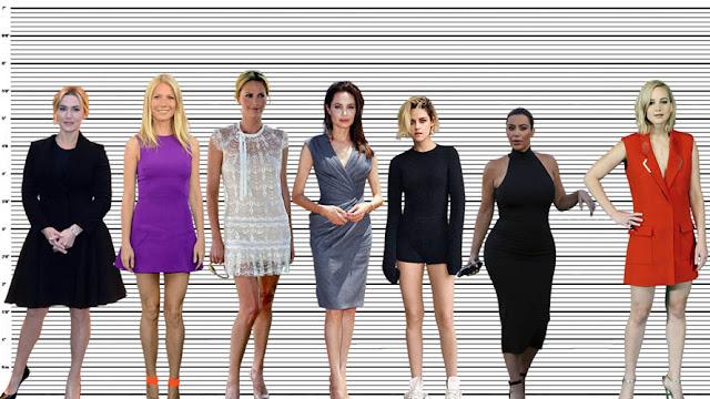 "Gwyneth Paltrow standing with Kate Winslet (5'6.5), Charlize Theron (5'10""), Angelina Jolie (5'6.5""), Kristen Stewart (5'4""), Kim Kardashian (5'2""), and Jennifer Lawrence (5'7.5"")"