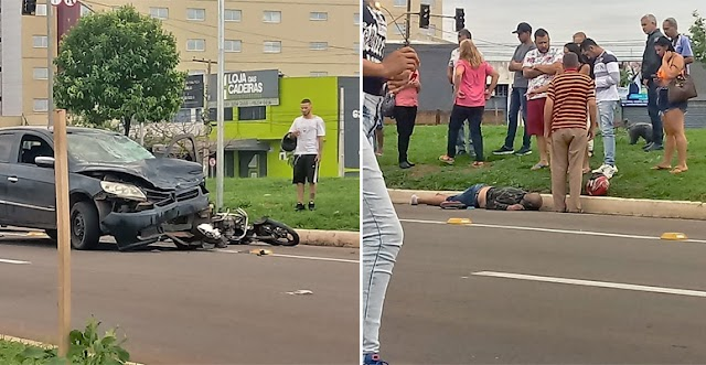 Anápolis: Acidente deixa motociclista gravemente ferido