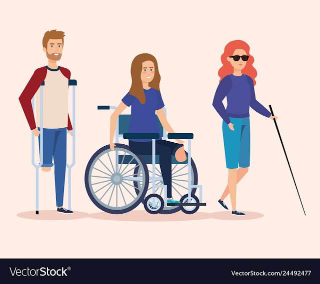Imagem mostra o desenho de 3 pessoas com deficiência: Um amputado com uma bengala, uma cadeirante e um cego com uma bengala