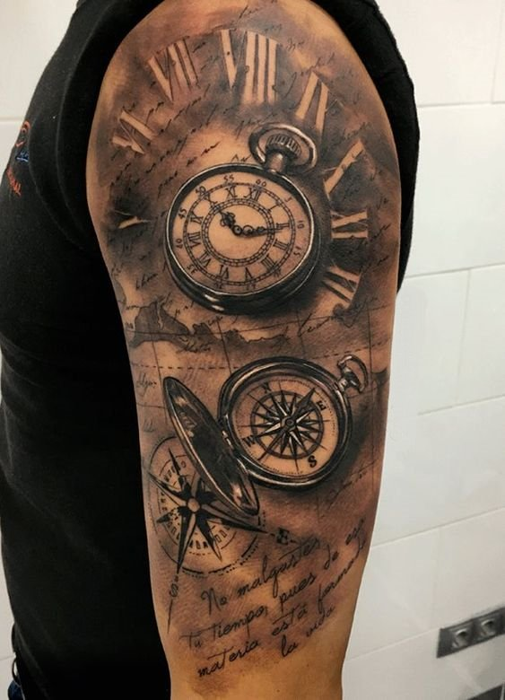 Compass  Shoulder Tattoo