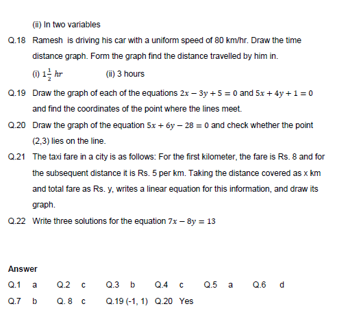 Linear equations in two variables,Light ,objective questions  test,Probability  Questions  mcq,