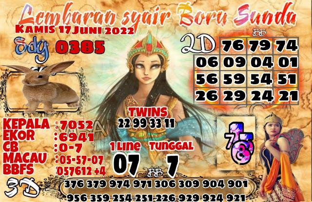 Syair SDY Boru Sunda Hari Kamis