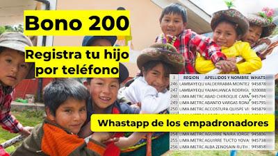 LINK para registro por Whatsapp Empezó la afiliacion de familias con niños menores de 2 años para el Bono 200