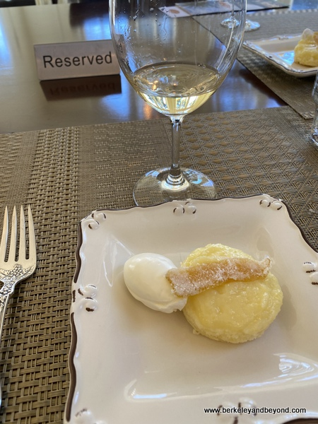 course 3-lemon pudding cake--at Chateau St. Jean Vineyards and Winery in Kenwood, California