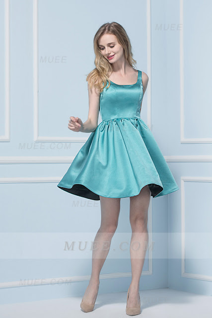 Classical Shoulder Straps Princess Short Ice Blue Satin Bridesmaid Dress