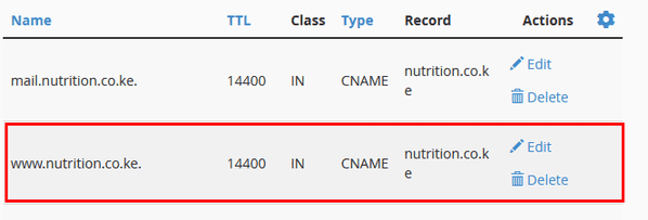 conflicting CNAME record