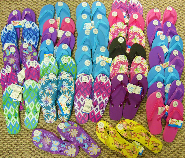 Flip flops purchased at Family Dollar for Operation Christmas Child shoeboxes.