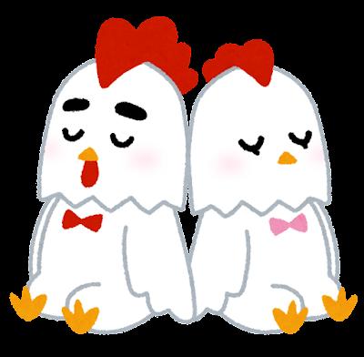 ニワトリのカップルのイラスト(酉年・干支)