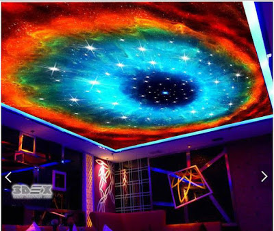 3D ceiling murals for stretch false ceilings