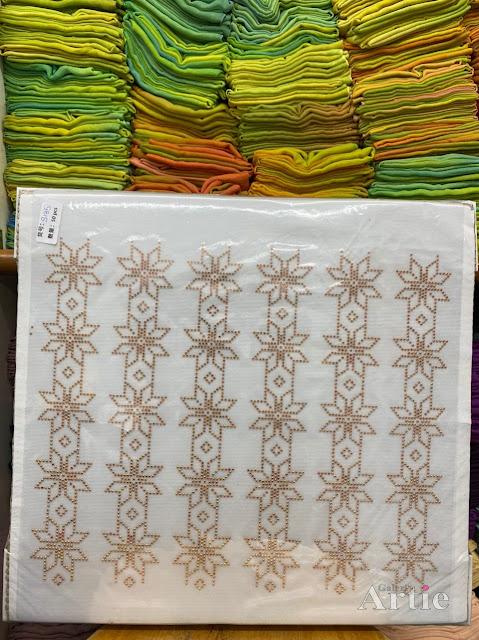 Sticker hotfix rhinestone DMC 6 jalur aplikasi tudung, bawal & fabrik pakaian motif islamik geometrik bunga gold