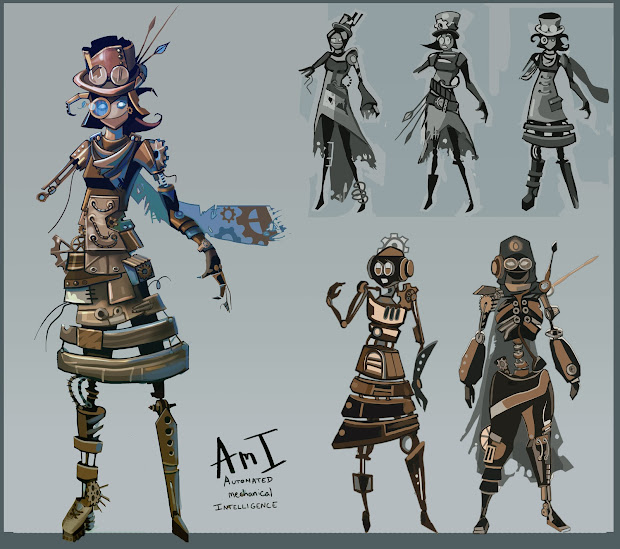 Steampunk Robot Concept Art Character