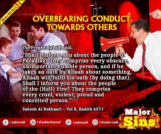 MAJOR SIN. 51. OVERBEARING CONDUCT TOWARDS OTHERS