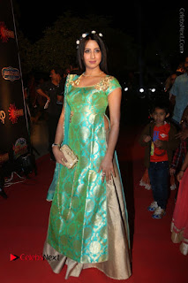 Actress Sanjjanaa Stills in Green Long Dress at Gemini TV Puraskaralu 2016 Event  0052.JPG