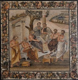 mosaico che rappresenta filosofi