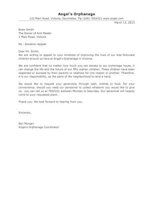 Orphanage Donation Letter