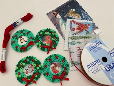 Hama bead mini wreaths for hanging ornaments