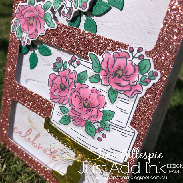 scissorspapercard, Stampin' Up!, Uniquely Creative, Just Add Ink, Happy Birthday To You, Stitched 3 Window Frame Die, Birthday Dies, In Good Taste DSP, Glimmer Paper, Stampin' Blends
