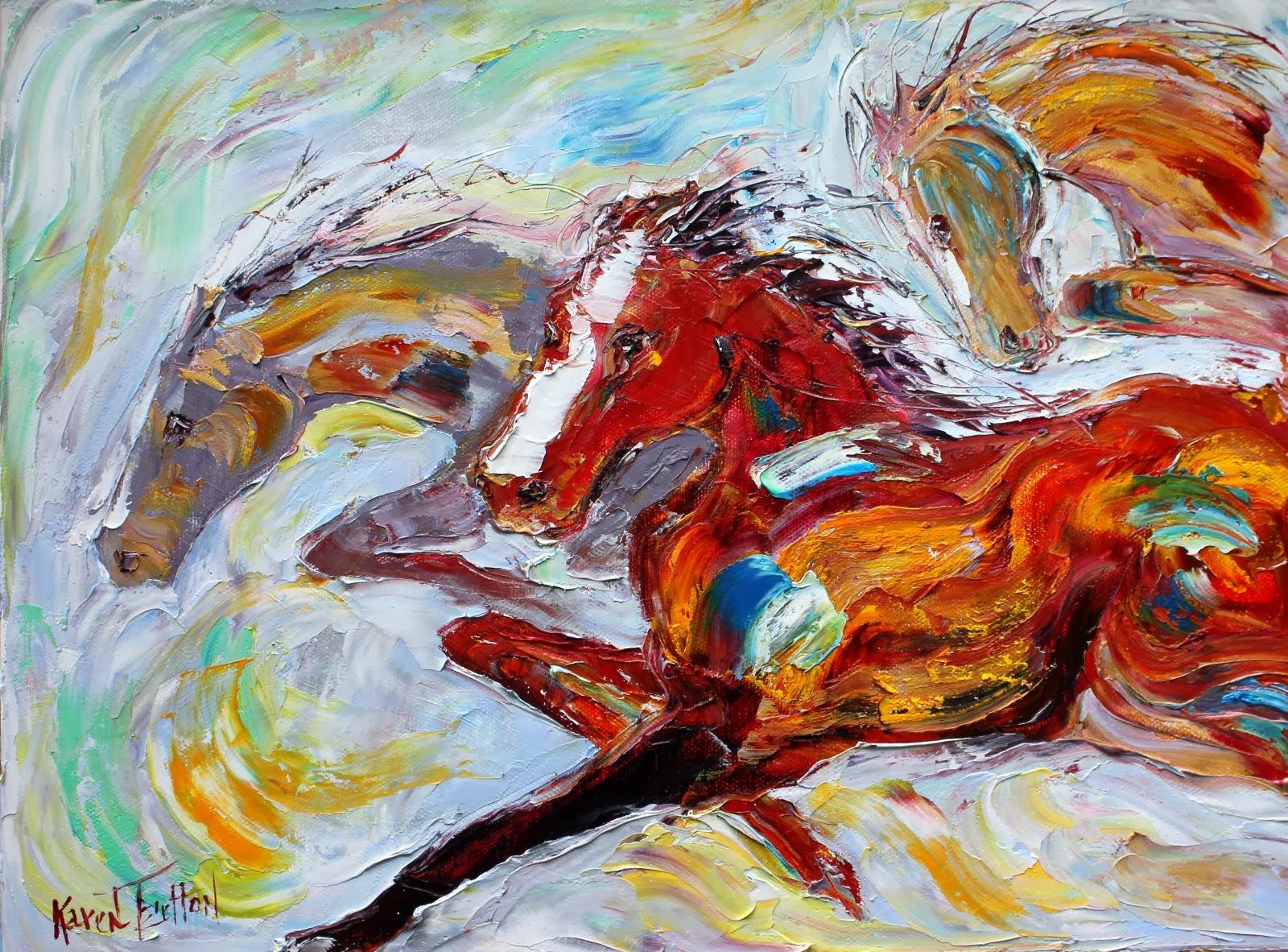 Wild Horses Running Oil Painting - Defendbigbird.com