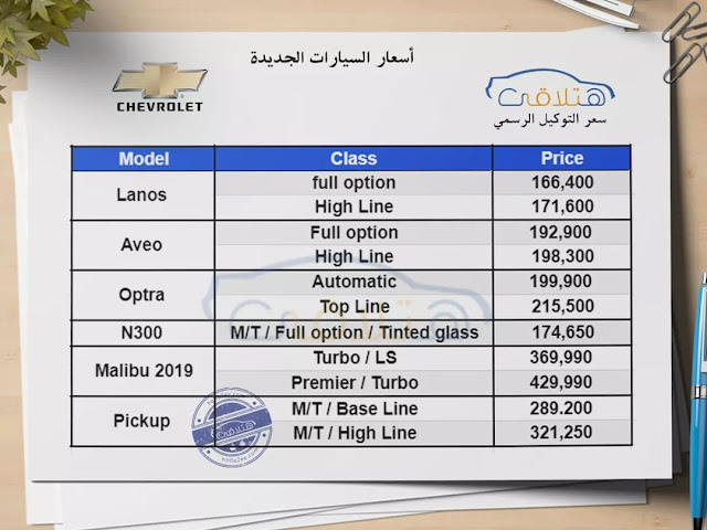 Chevrolet Prices in Egypt