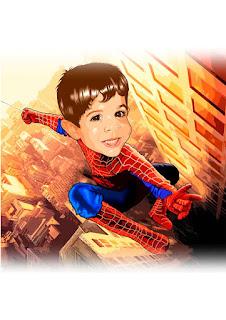 caricaura homem aranha infantil