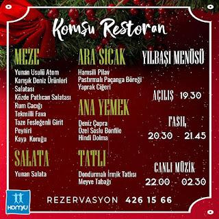 Komşu Restoran Ankara Yılbaşı Programı 2020 Menüsü