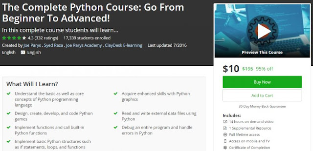 [95% Off] The Complete Python Course: Go From Beginner To Advanced!| Worth 195$