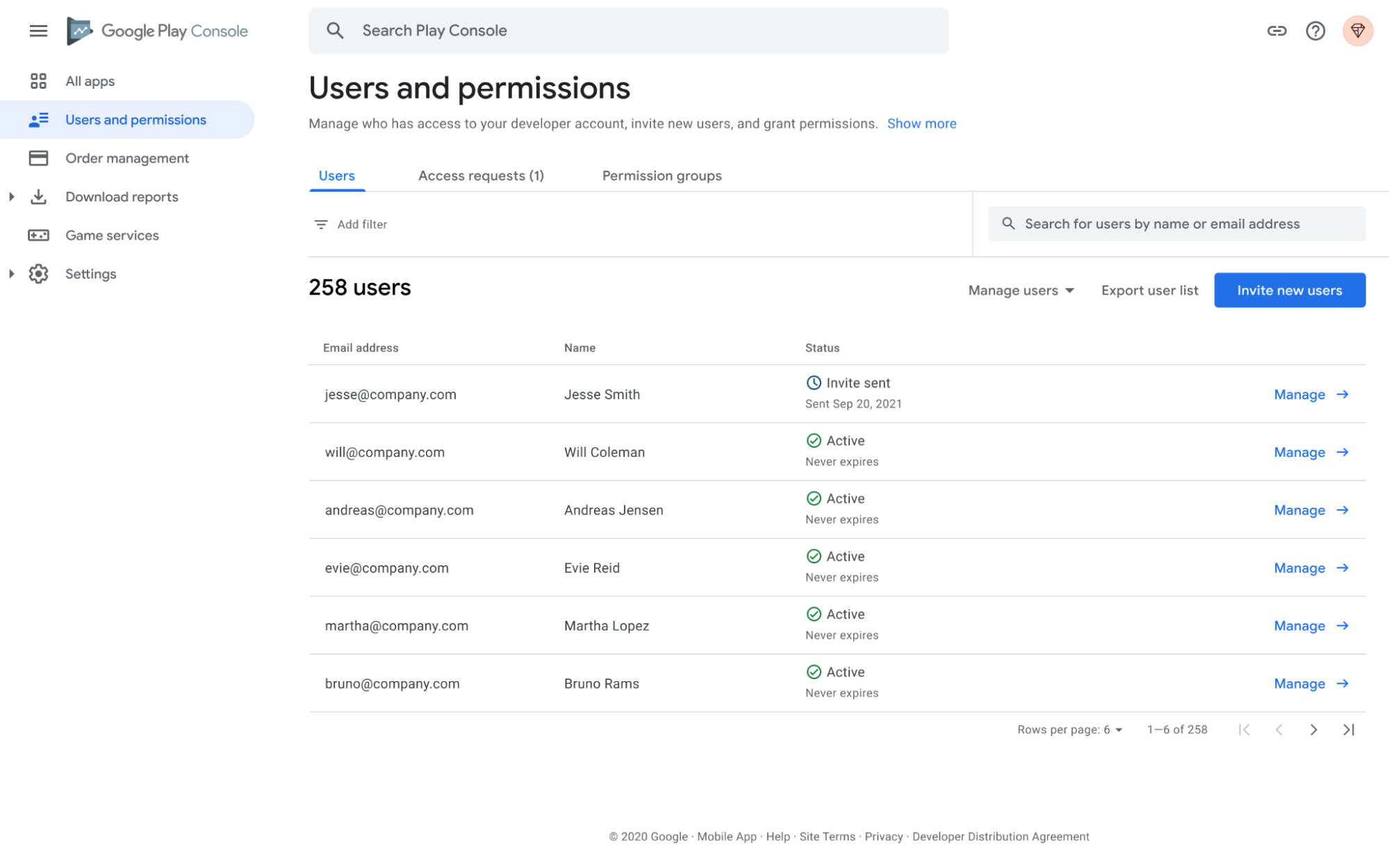Users and Permissions screen